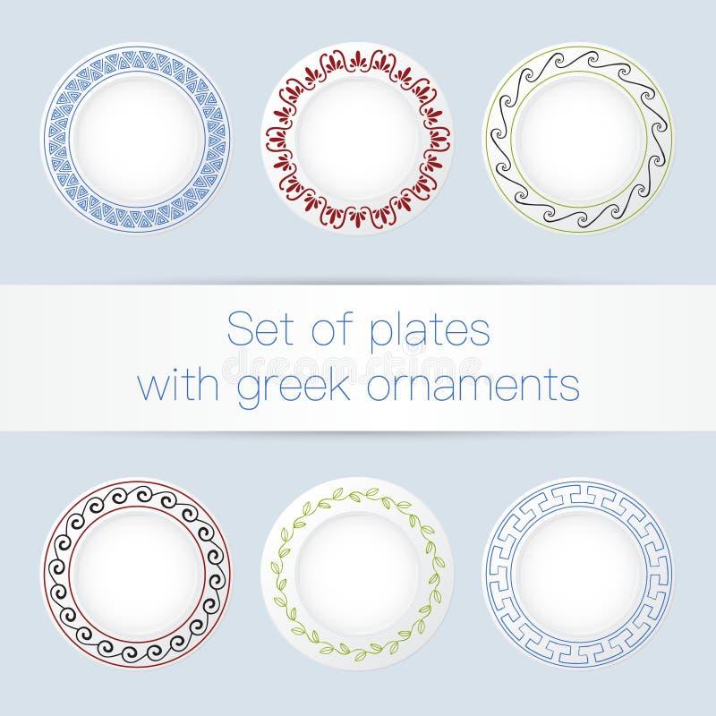 Ensemble de plats avec des ornements du grec ancien illustration stock
