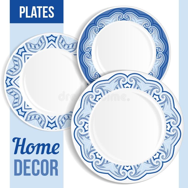 Ensemble de plats décoratifs illustration stock