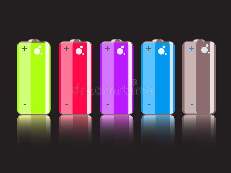 Ensemble de pleines batteries colorées illustration stock