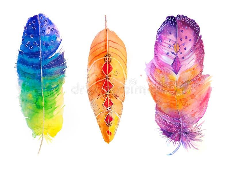 Ensemble de plumes d'aquarelle illustration de vecteur