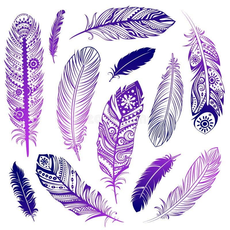 Ensemble de plumes d'Ehnic illustration stock