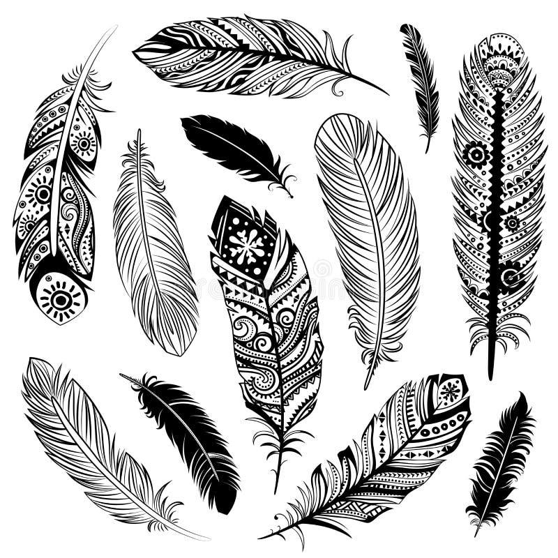 Ensemble de plumes d'Ehnic illustration de vecteur