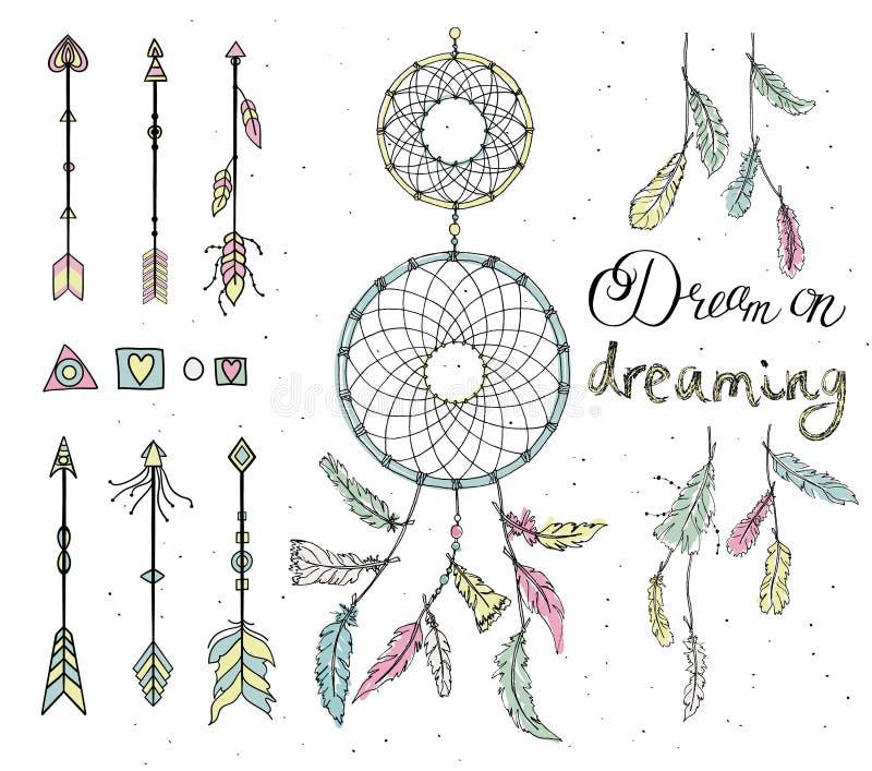 Ensemble de plumes tirées, receveur rêveur, perles, éléments géométriques, illustration de vecteur