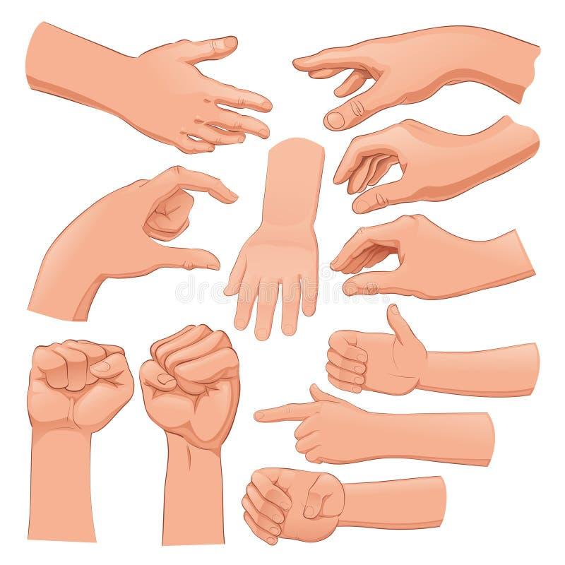 Ensemble de plusieurs mains illustration de vecteur