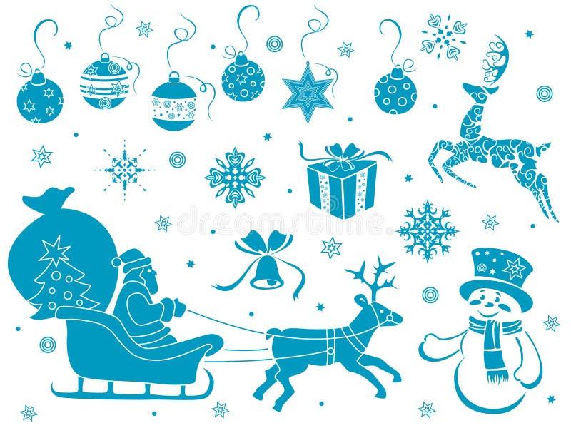 Ensemble de pochoirs de Noël illustration de vecteur