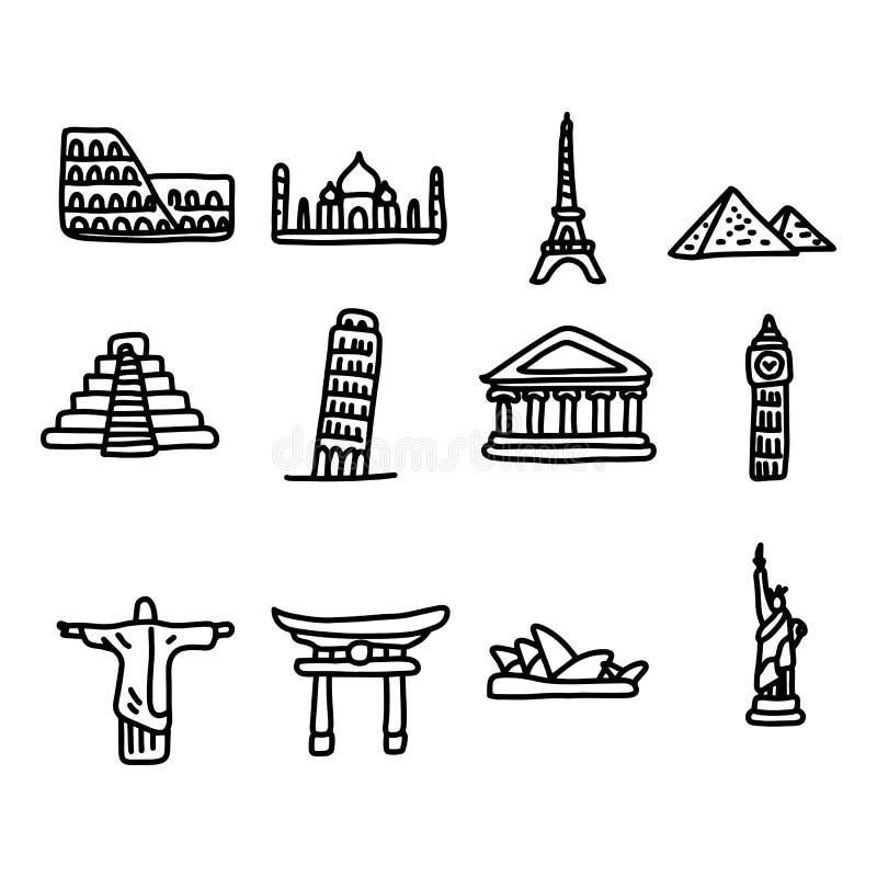 Ensemble de points de repère de voyage autour de l'illustr réglé de vecteur d'icône du monde illustration libre de droits