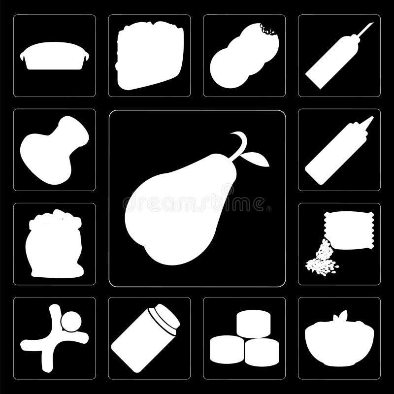Ensemble de poire, pâtes, sushi, miel, pain d'épice, graines, farine, Mus illustration de vecteur