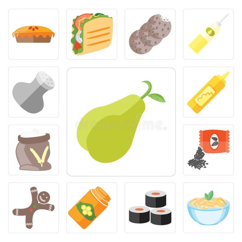 Ensemble de poire, pâtes, sushi, miel, pain d'épice, graines, farine, Mus illustration stock