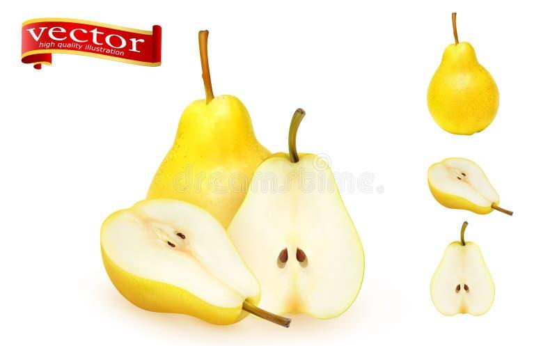 Ensemble de poires fraîches sur un fond blanc Ensemble de poire juteuse mûre entière et de détail élevé de vecteur réaliste de tr illustration stock