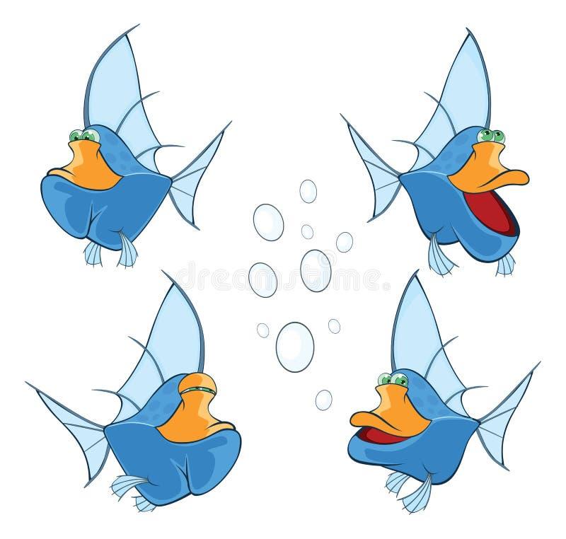 Ensemble de poissons d'eau profonde mignons de bande dessinée illustration libre de droits