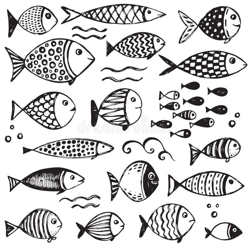 Ensemble de poissons drôles tirés par la main dans le style de croquis illustration de vecteur