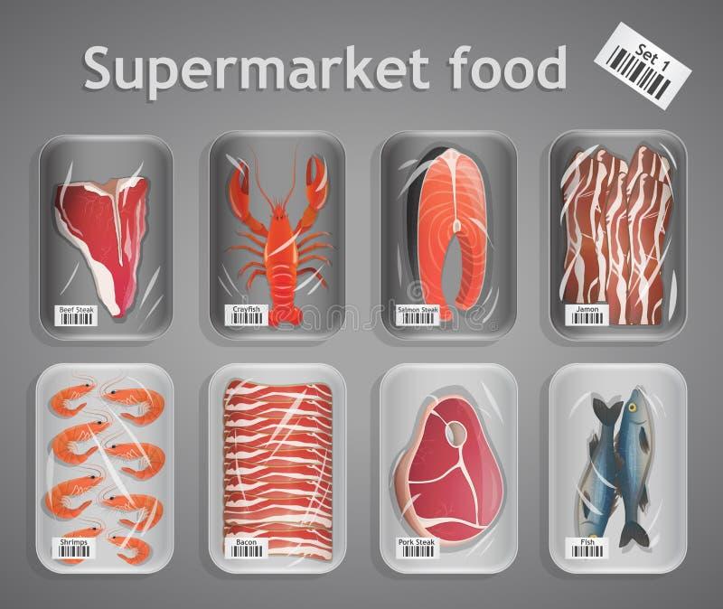 Ensemble de poissons et de viande de supermarché illustration de vecteur