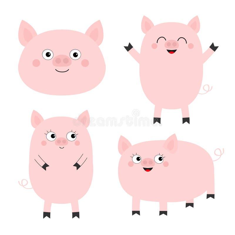 Ensemble de porcelet de porc Caractère drôle de bébé de bande dessinée mignonne Les porcs de porc sèment l'animal Symbole de Chin illustration libre de droits