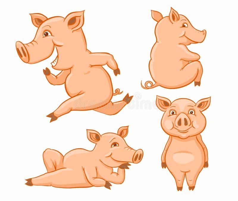 Ensemble de porcs roses illustration de vecteur