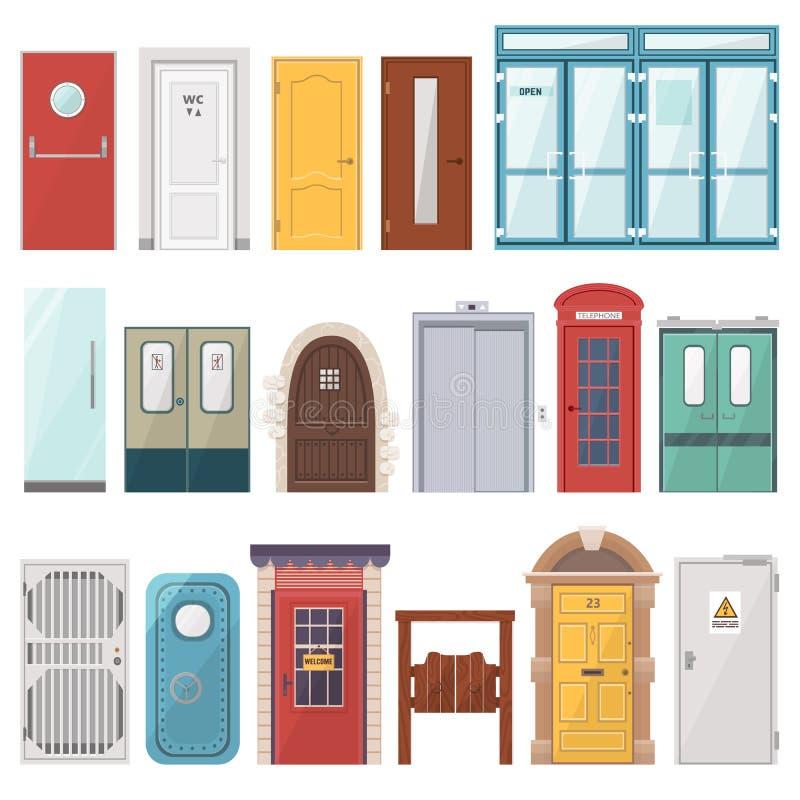 Ensemble de porte d'entrée avant de vecteur de portes à loger et ensemble de bâtiment dans l'illustration plate de seuil de style illustration de vecteur