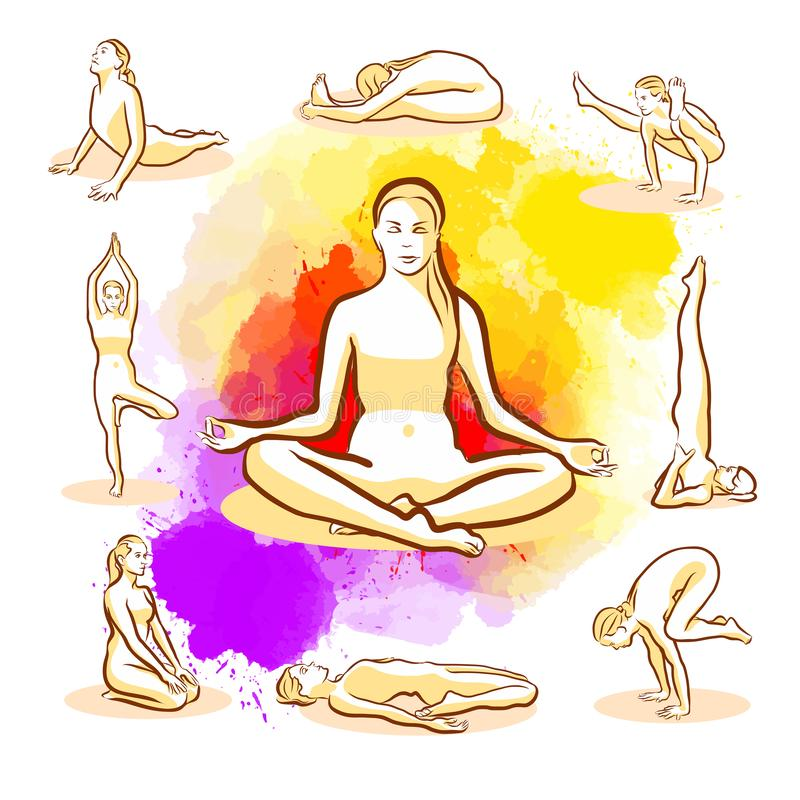 Ensemble de poses de yoga illustration de vecteur