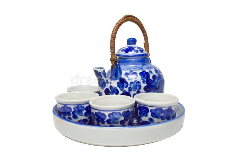 Ensemble de poterie en céramique blanche bleue chinoise de thé image libre de droits