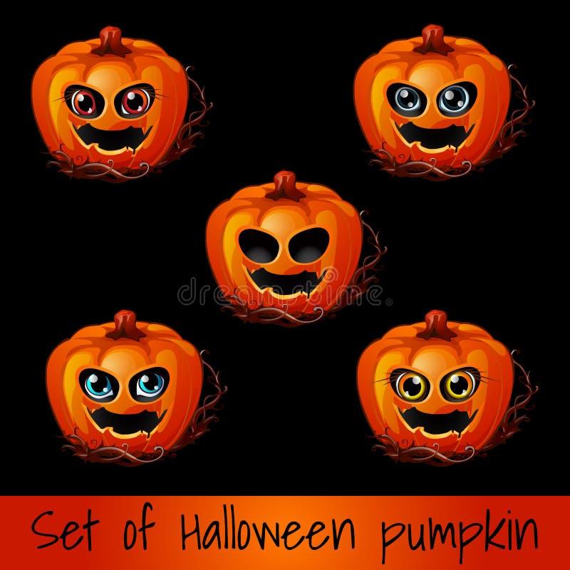 Ensemble de potiron mûr avec les yeux et la bouche, Jack-o-lanternes Attribut des vacances de Halloween Croquis pour des vacances illustration stock