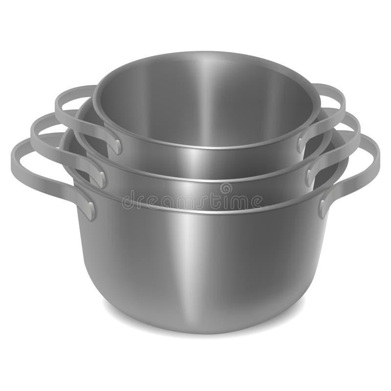 Ensemble de pots en acier vides Image d'isolement illustration de vecteur