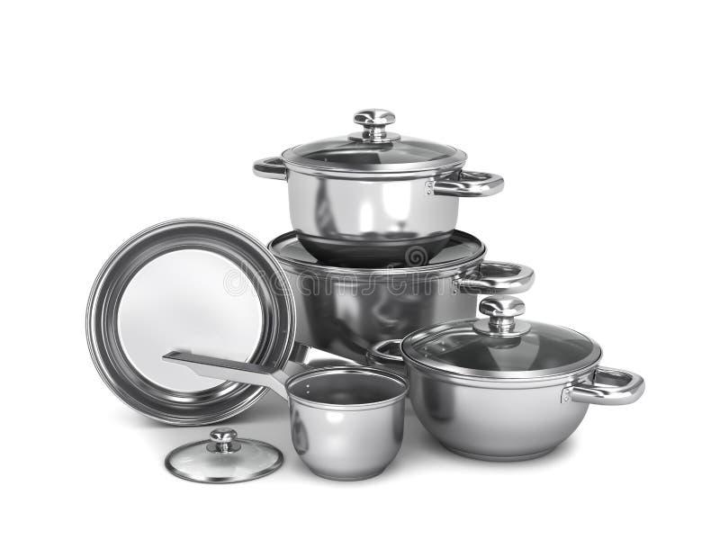 Ensemble de pots et de casseroles d'acier inoxydable d'isolement sur le fond blanc illustration 3D illustration de vecteur