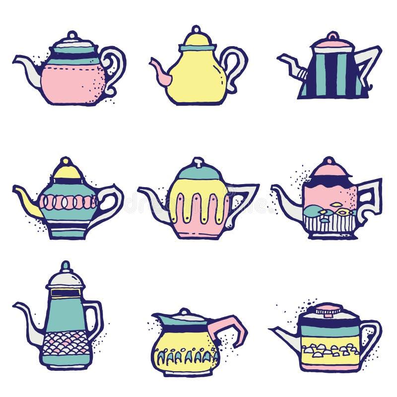 Ensemble de pots tirés par la main de thé de vintage illustration de vecteur