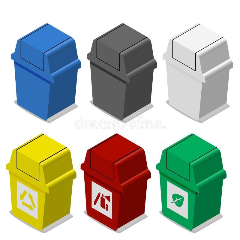 Ensemble de poubelle isométrique avec le symbole dans le style plat d'icône illustration libre de droits