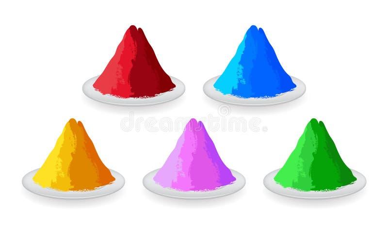 Ensemble de poudres colorées pour Holi heureux illustration de vecteur