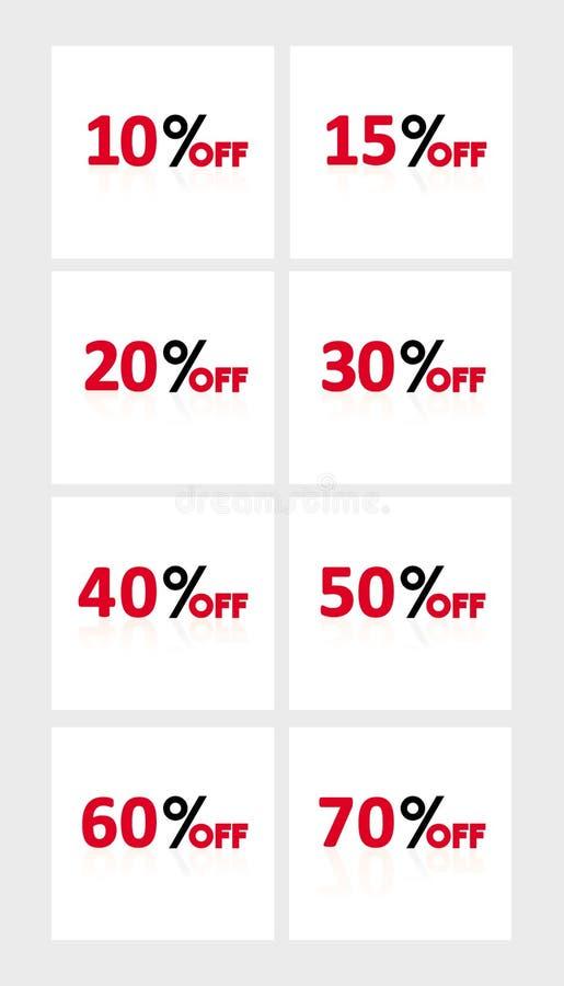 Ensemble de pour cent de vente Bannières simples de vecteur de remise illustration stock