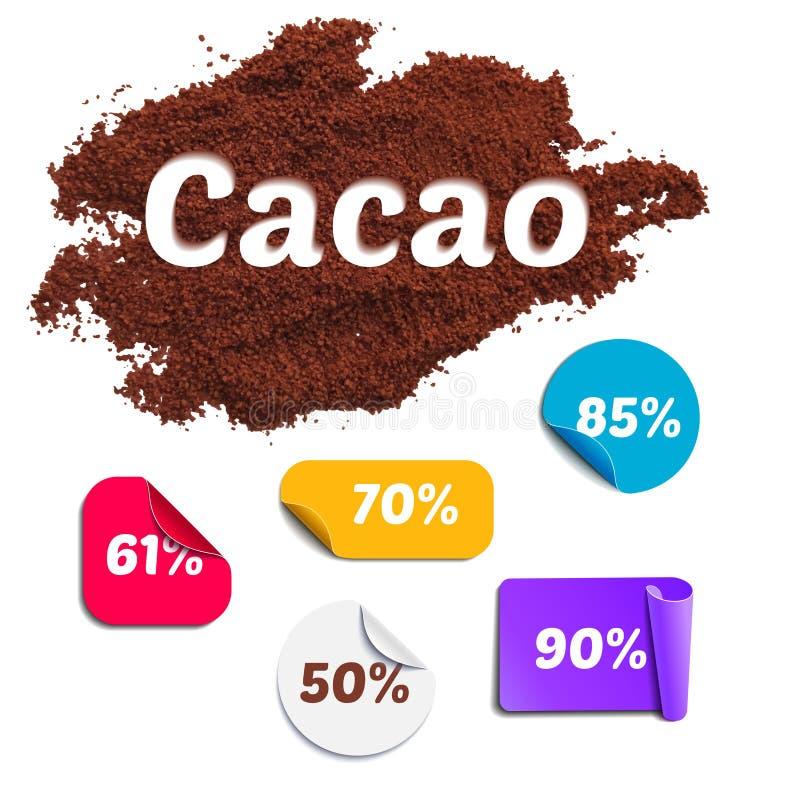 Ensemble de pourcentage de cacao illustration stock