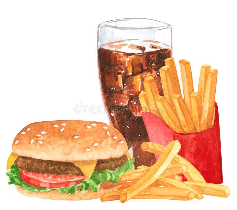 Ensemble de prêt-à-manger, hamburger, fies français, kola, illustration tirée par la main d'aquarelle photos libres de droits