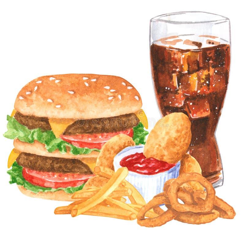 Ensemble de prêt-à-manger, hamburger, nachos, anneaux d'oignon, fies français, kola, pépites de poulet image libre de droits