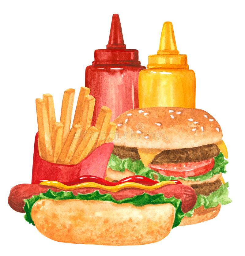 Ensemble de prêt-à-manger, hot-dog, ketchup, moutarde, hamburger, fies français illustration stock