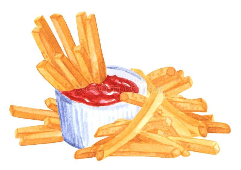 Ensemble de prêt-à-manger, ketchup, fies français, illustration tirée par la main d'aquarelle images libres de droits