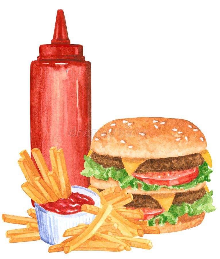 Ensemble de prêt-à-manger, ketchup, hamburger, fies français photo stock