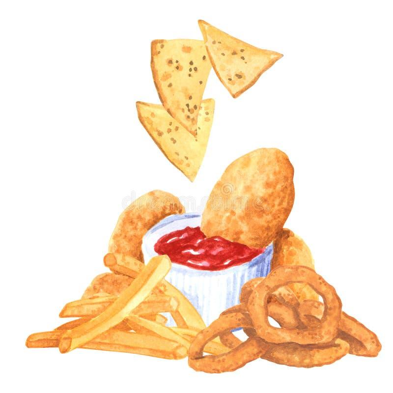 Ensemble de prêt-à-manger, ketchup, nachos, anneaux d'oignon, fies français, aquarelle tirée par la main image stock