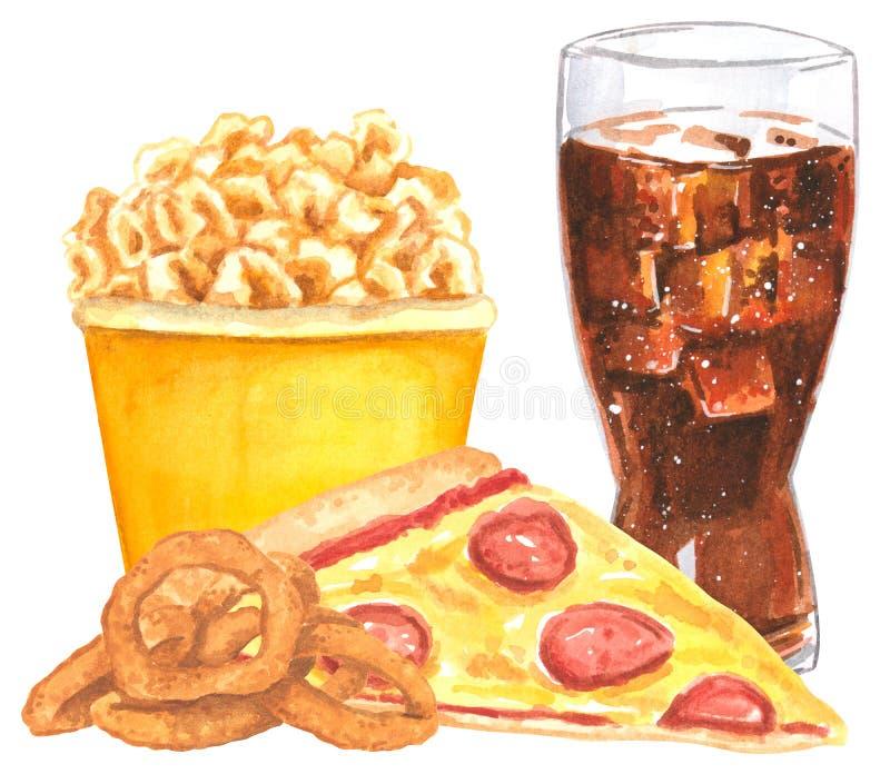 Ensemble de prêt-à-manger, pizza, anneaux d'oignon, maïs éclaté, kola photographie stock