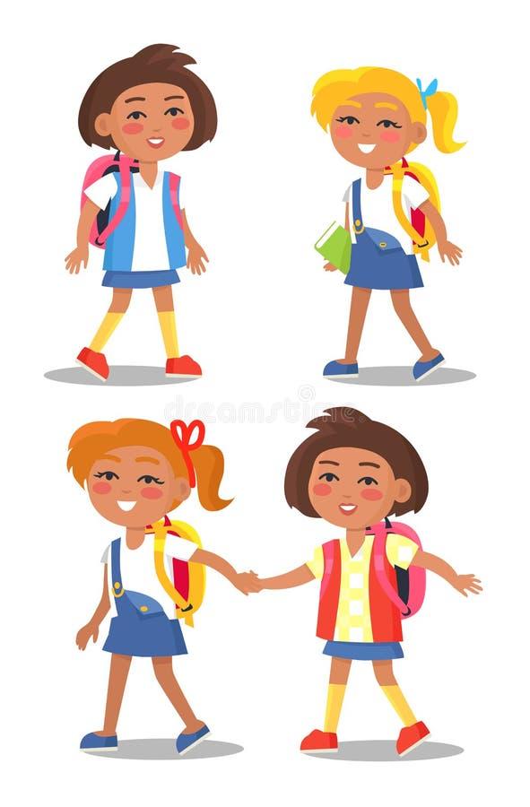 Ensemble de premier élève d'année d'écolières avec des sacs à dos illustration stock