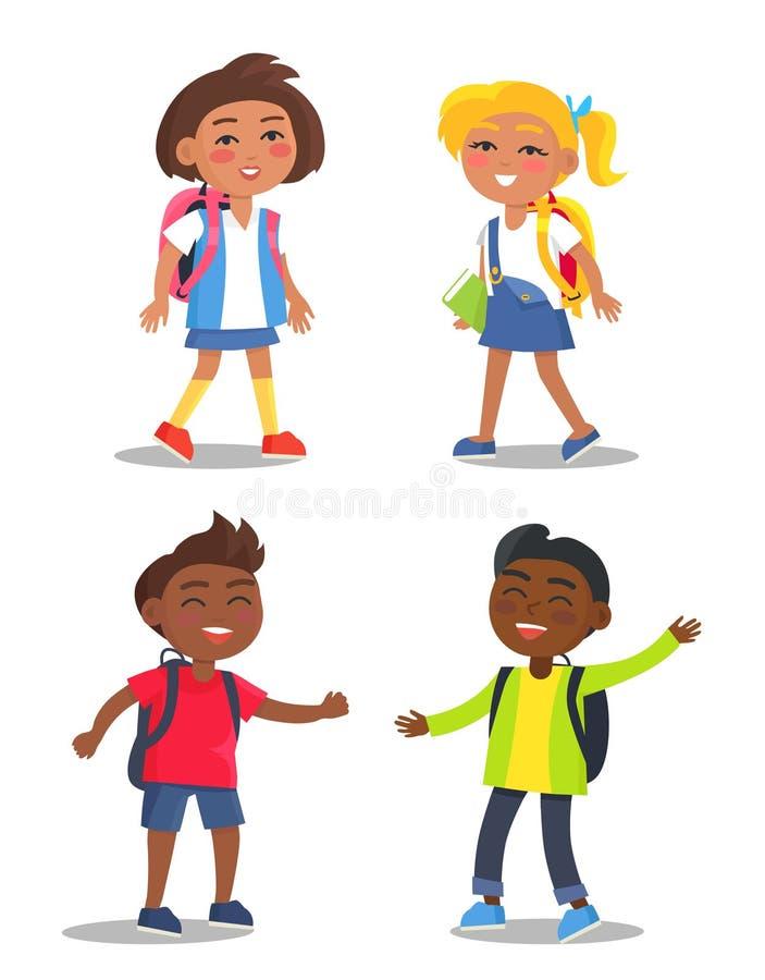 Ensemble de premier élève d'année d'écoliers avec des sacs illustration stock