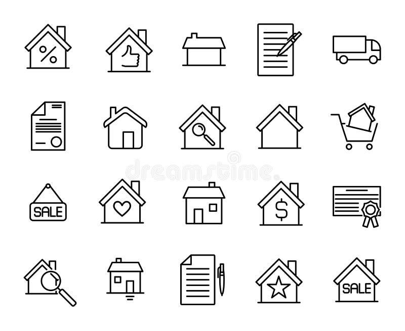 Ensemble de prime de ligne icônes d'immobiliers illustration libre de droits