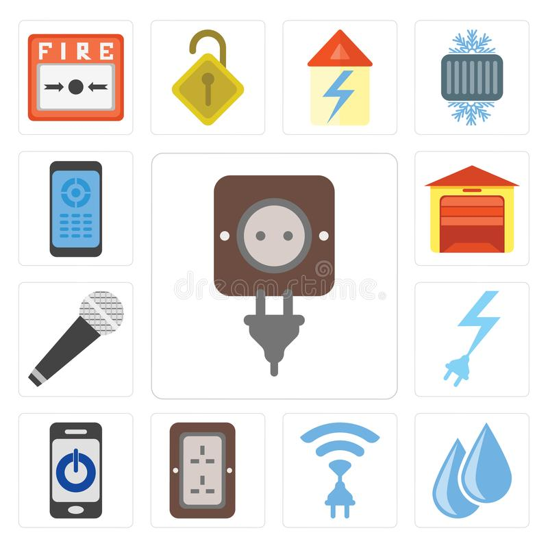 Ensemble de prise, l'eau, radio, Smartphone, puissance, microphone, orphie illustration libre de droits
