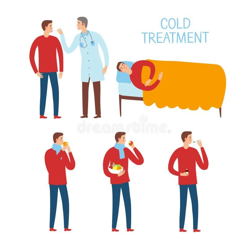 Ensemble de processus de traitement de froid et de grippe illustration stock