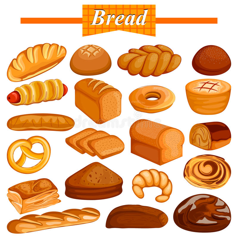 Ensemble de produit alimentaire assorti délicieux de pain et de boulangerie illustration de vecteur