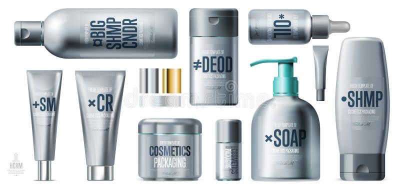 Ensemble de produit cosmétique de soin quotidien réaliste de beauté illustration stock