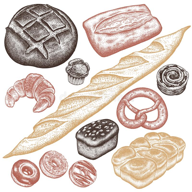 Ensemble de produits de boulangerie illustration de vecteur