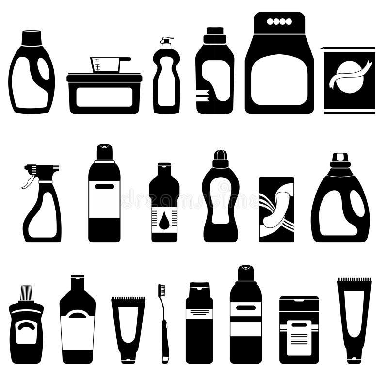 Ensemble de produits domestiques et de cosmétiques, silhouettes sur le fond blanc, illustration de vecteur, bouteilles et tubes illustration libre de droits