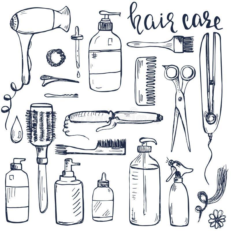 Ensemble de produits tirés par la main de dénommer et de soin de cheveux illustration de vecteur