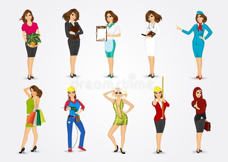 Ensemble de 10 professions illustration de vecteur