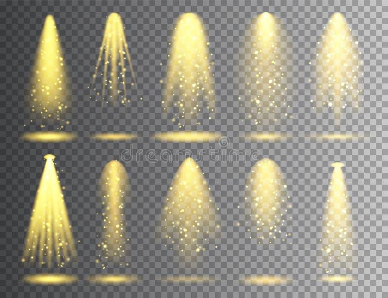 Ensemble de projecteur de vecteur Faisceau lumineux rougeoyant de Noël lumineux avec des étincelles Effet réaliste transparent de illustration de vecteur