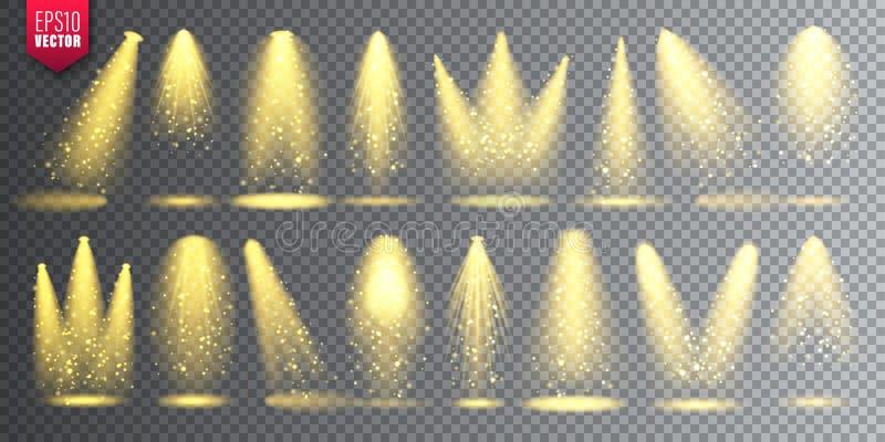 Ensemble de projecteur de vecteur Faisceau lumineux rougeoyant de Noël lumineux avec des étincelles Effet réaliste transparent de illustration libre de droits