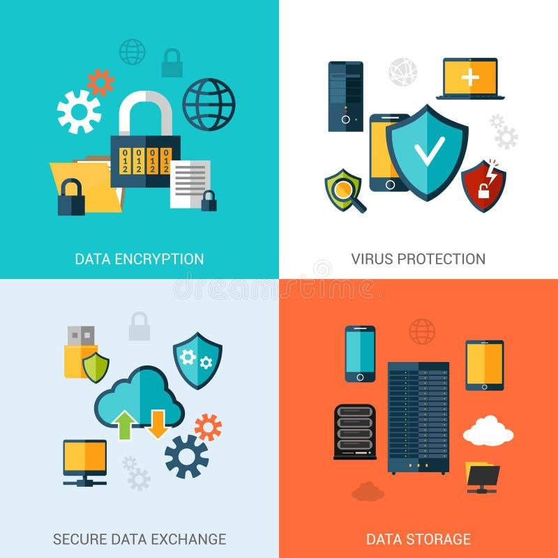 Ensemble de protection des données illustration de vecteur